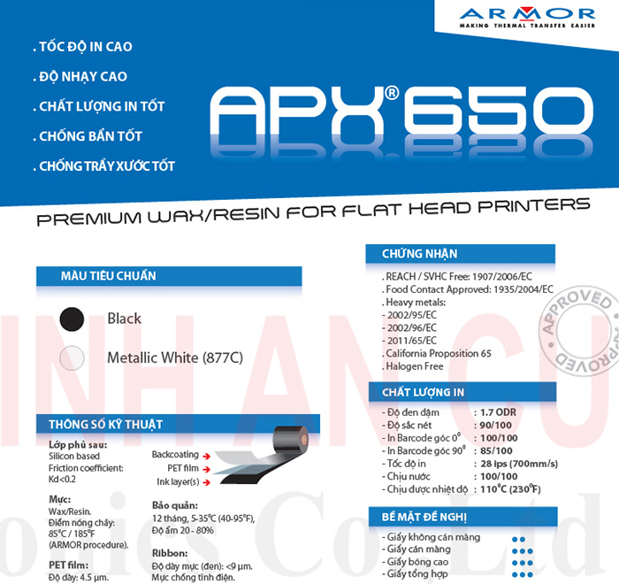 Mực in Wax/Resin APX650 chính hãng