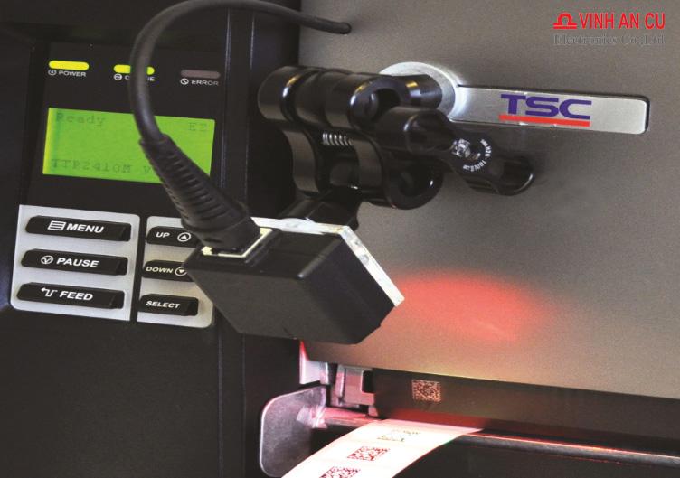 Máy in TSC 2410M Pro, máy in mã vạch gắn máy quét, Máy in mã vach gắn đầu đọc mã vạch, Máy in mã vạch có máy quét mã vạch